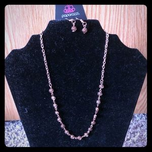 Rose Gold Rose Necklace and Earrings Set